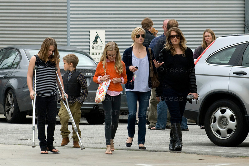 Reese Witherspoon, Ava Phillippe, Deacon Phillippe and friend leaving church in Los Angeles, California on March 06, 2011