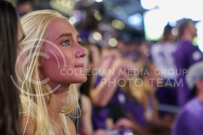 Under the bright lights, students watch as the clock winds down on the first full home game at Bill Snyder Family Stadium in a year and a half (Kendall Spencer | Collegian Media Group)