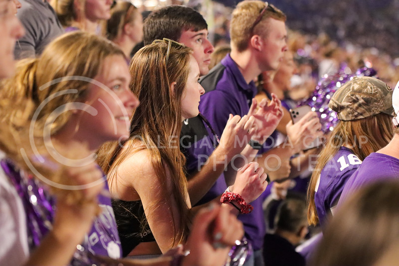 Swaying to the beat, the student section waves as the Pride blares the Wabash Cannonball (Kendall Spencer | Collegian Media Group).