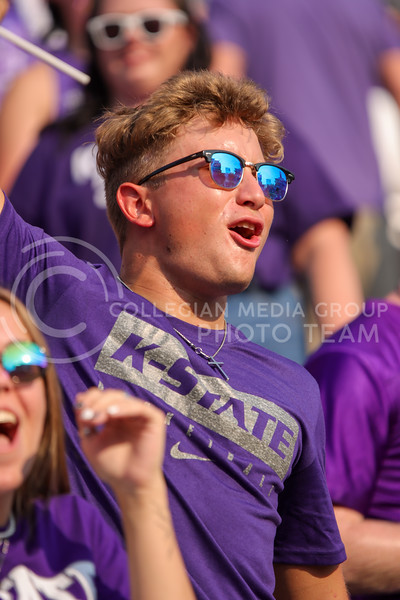 Cheering loudly, the student section roars to life as the cats take the field at the Refill the Bill home opener against Southern Illinois (Kendall Spencer | Collegian Media Group).