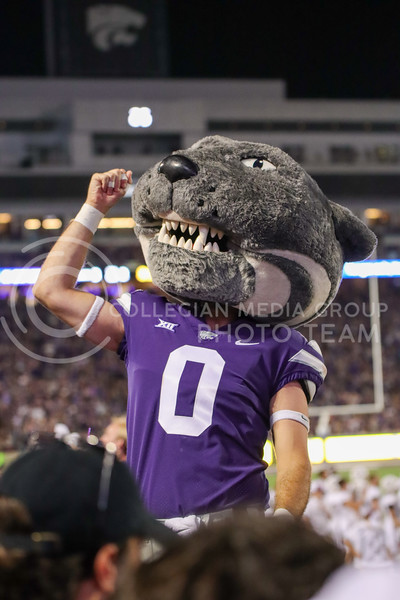 Pumping up the crowd, Willie jumps into the student section to get KState to make some noise as the Refill the Bill game wraps up (Kendall Spencer | Collegian Media Group).