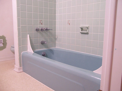 These 70's color schemes...what were they thinking?! Because the shower tile was in great shape as well as the tub, the entire area was a good candidate for refinishing.