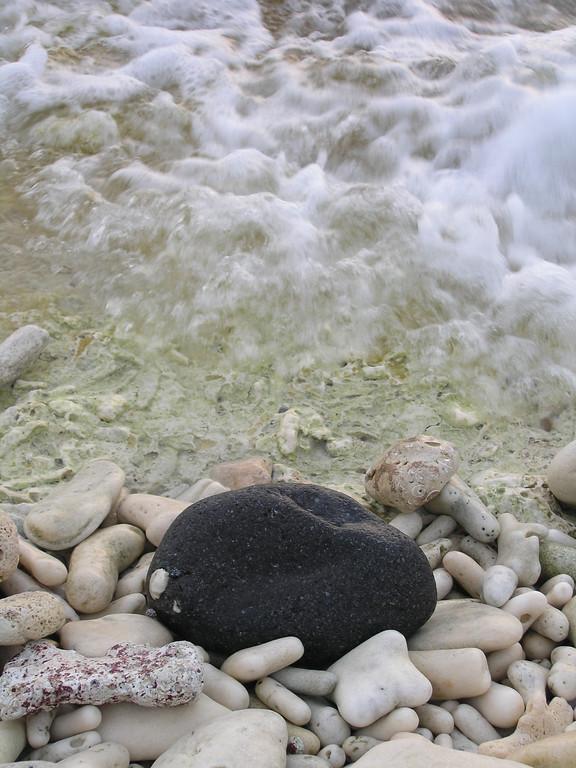 Black Stone on a Coral Beach