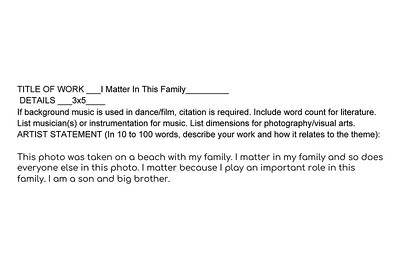 I Matter In This Family Artist Statement