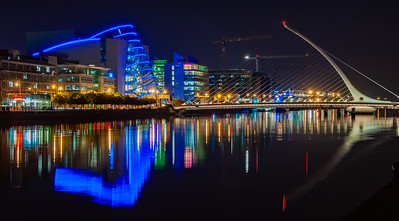 Dublin Lights at Samuel Beckett Bridge, River Liffey, Co. Dublin