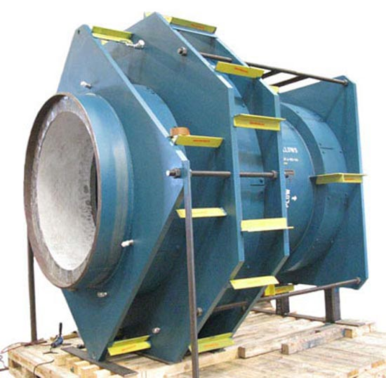 63″ In-line pressure balanced expansion joint with refractory lining