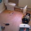 Plwood fllor is completed ready for tiles. The toilet is refitted overnight ready for tiling the next day.