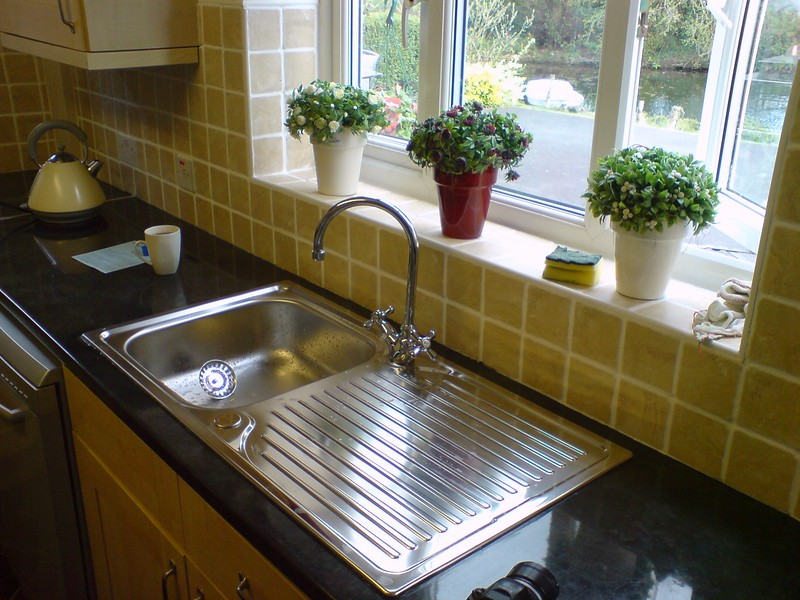 New Stainless Steel sink and mixer installed.