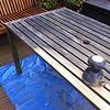 Sanding down garden furniture, ready for Teak Oil.
