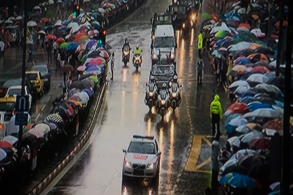 This and the next photo were taken off the TV - this one as the cortege passed my office.