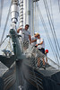 Crew washing bowsprit
