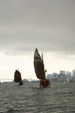 Junks sailing to China Camp, 10/19/08