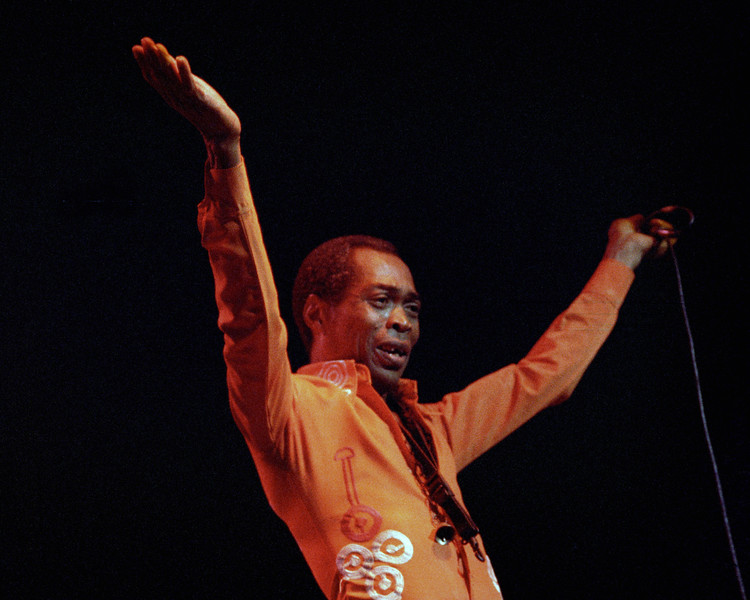 Fela Kuti performs at the Warfield Theater in San Francisco on July 24, 1990.