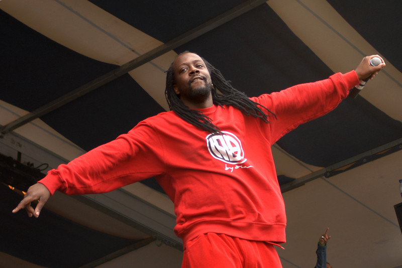 Wyclef Jean performs at the New Orleans Jazz & Heritage Festival on May 2, 2004.