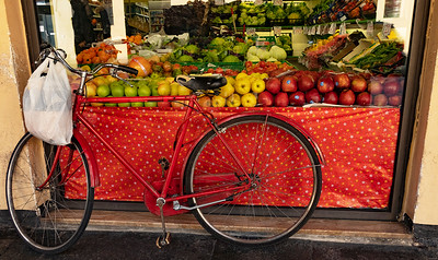Typical local scene. Aaron loves to photograph bicycles. Maybe it reminds him of our two month bicycle trip through France many years ago.