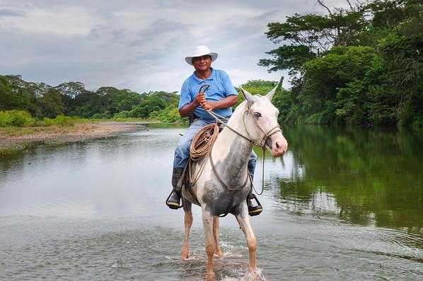 Local mounted on a horse in Nicoya Peninsula, Costa Rica