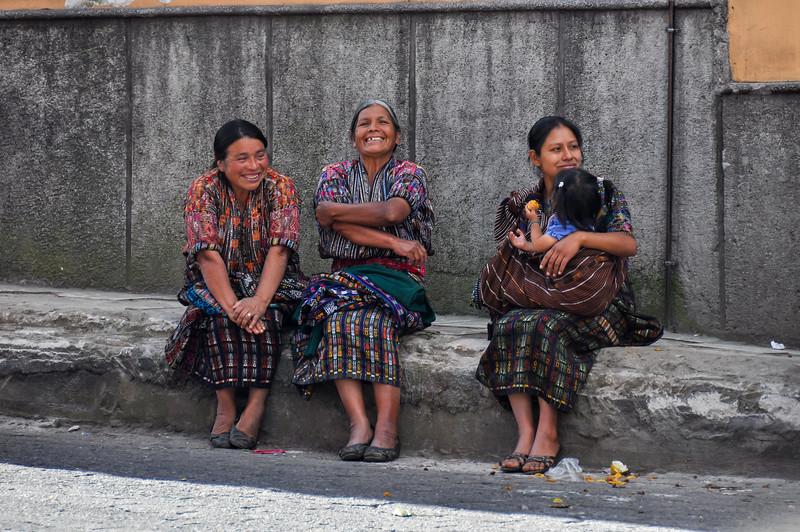 Guatemaltecas women laughing out loud, Chichicastenango, Guatemala