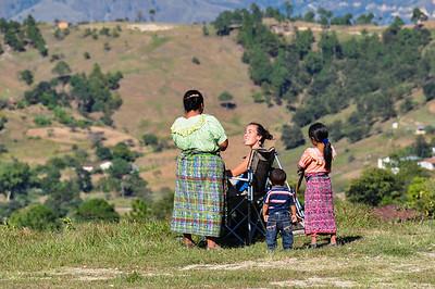 Talking with locals, Sacapulas, Guatemala