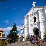 Guatemaltecas exiting church in San Pedro la Laguna, Guatemala