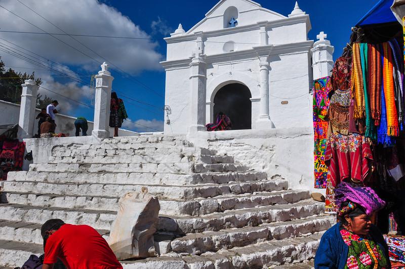 White church near the market, Chichicastenango, Guatemala