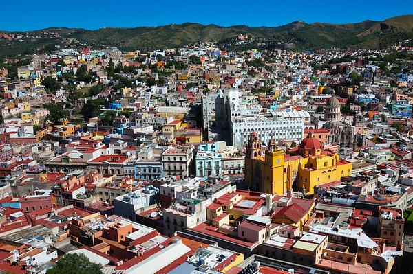 View over Colonial city of Guanajuato, Guanajuato, Mexico
