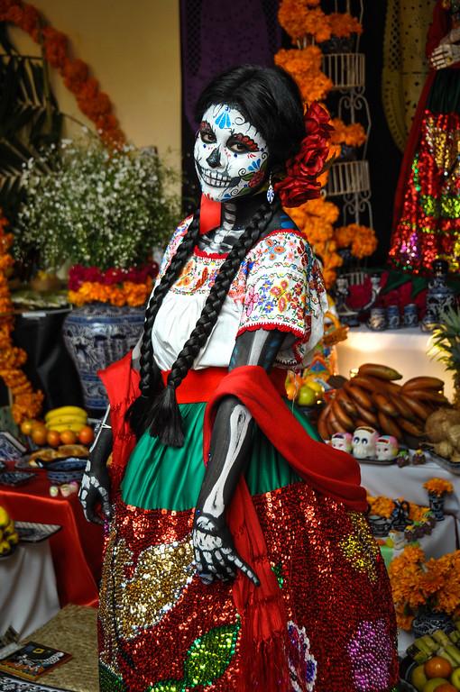 Puebla, Mexico - October 31, 2013 : Woman disguised for Dia de los Muertos