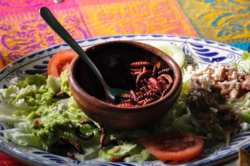Escamoles, or Larvas lunch, Teotihuacan, Mexico