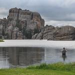 Fishing in Sylvan Lake, South Dakota, USA