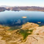 Colored lake in Nevada's desert near Las Vegas, USA