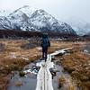 Trekker in Fitz Roy trail, South Argentina