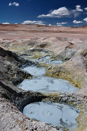 Mudpools in Geysers Sol Manana, Sur Lipez, South Bolivia