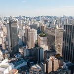 Sao Paulo massive concrete buildings in Brazil.