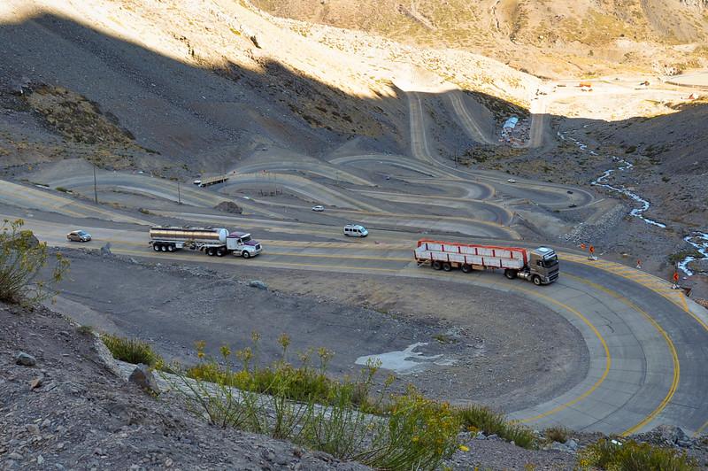 Paso de los Libertadores, Winding Road at 3000 meters, between Argentina and Chile