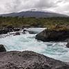 Petrohue beautiful waterfalls with Osorno Volcano behind, Chile