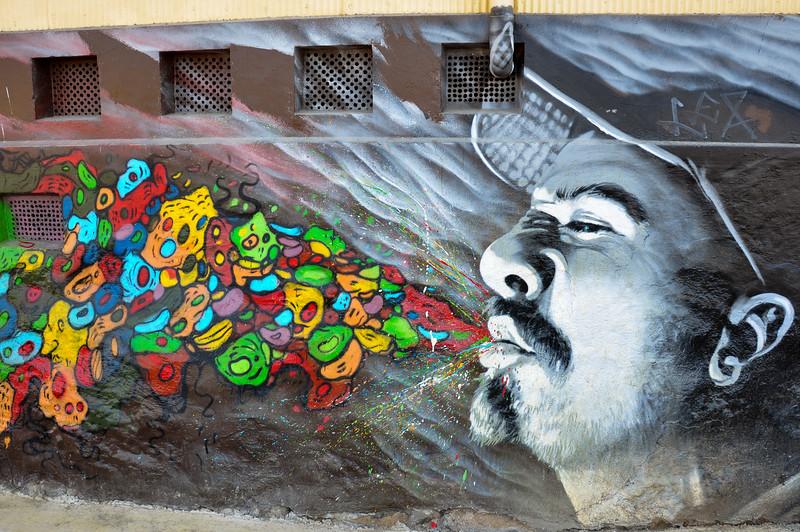 Wall grafitis in Valparaiso, Chile
