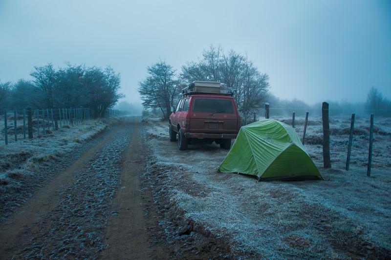 Freezing camping in Carretera Austral, Cerro Castillo, Chile