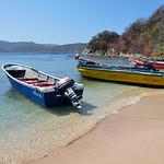 Small boats theading to Tayrona National Park, Colombia