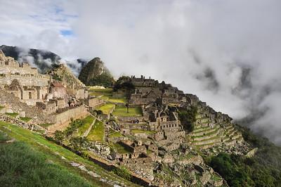 View over Machu Picchu Inca ruins, Peru