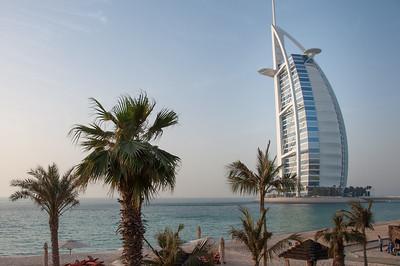 Burj Al Arab hotel viewed from the beach, Dubai, UAE