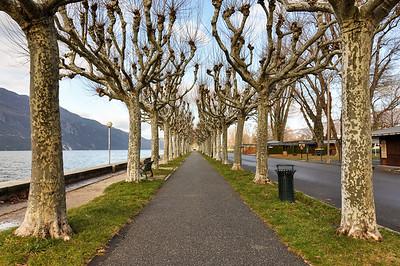 Aix-Les-Bains boardwalk at lake Bourget, Savoie, France