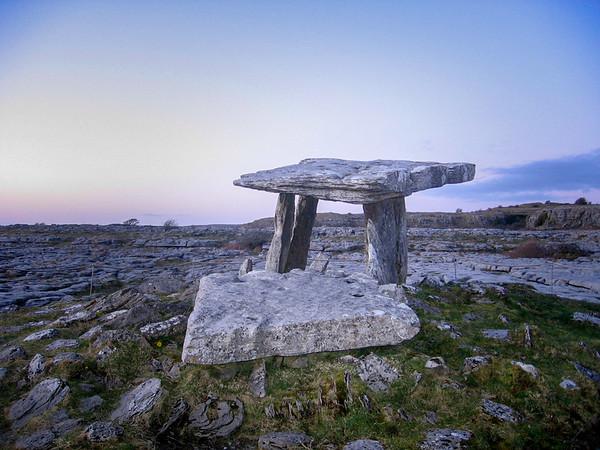 Poulnabrone dolmen in the Burren, County Clare, Ireland.