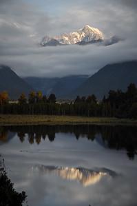Sunset at Lake Matheson, South Island, New-Zealand
