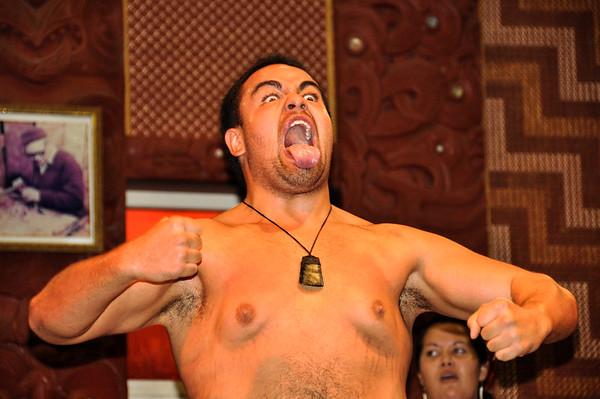 Haka demonstration by the Maoris in Te Puia, North Island, New-Zealand