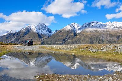 Mountain reflection near Lake Tekapo in South Island, New-Zealand