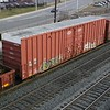"""Iowa Traction Railway 60'9"""" 7541 cu. ft. Double Door High Cube Boxcar No. 5610 is eastbound on Norfolk Southern manifest freight train, 10G, on the Pittsburgh Line in Altoona, Pennsylvania on 14 March 2009."""