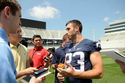Penn State football senior and Selinsgrove High School graduate Ryan Keiser answers questions during media day on Monday at Beaver Stadium.