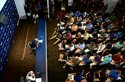 First year Penn State football head coach James Franklin takes questions during a media day press conference on Monday.