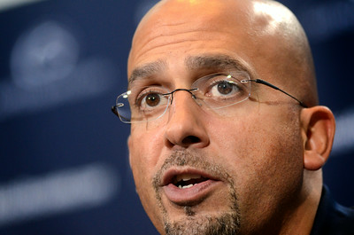 Penn State head football coach James Franklin goes through his media day press conference on Monday afternoon.