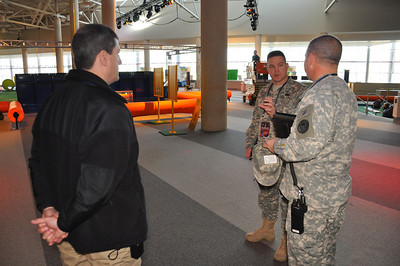 In this image released by the Texas Military Forces, Army National Guard Col. Bill Hall with Joint Task Force 71 visits with Oklahoma National Guardsmen in Dallas, Texas, Wednesday, Jan. 26, 2011. Multiple Guard units from several states deployed to North Texas as part of the multi-agency public safety effort before and during the Super Bowl. Hall, the task force commander, conducted the visits as part of an effort to augment communication and coordination among the units, ensuring maximum availability for civilian authorities. (Photo/Joint Task Force 71, Army National Guard Maj. Adam Collett)