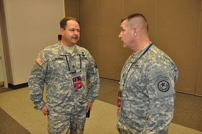 In this image released by the Texas Military Forces, Army National Guard Command Sgt. Maj. Jim Horn with Joint Task Force 71 visits with Oklahoma National Guardsmen in Dallas, Texas, Wednesday, Jan. 26, 2011. Multiple Guard units from several states deployed to North Texas as part of the multi-agency public safety effort before and during the Super Bowl. As the senior enlisted member of a unit, a Command Sergeant Major helps maintain high discipline and morale by visiting servicemembers in different deployed locations. (Photo/Joint Task Force 71, Army National Guard Maj. Adam Collett)